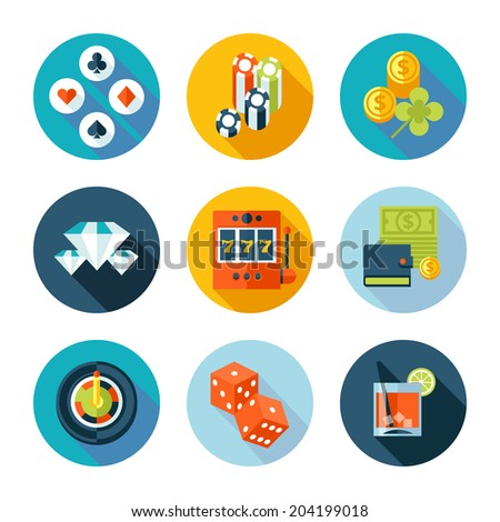 Set of casino icons. Vector casino stuff in flat modern style. - stock vector