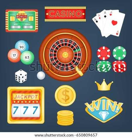 Set of casino objects. Cartoon style. Vector illustration