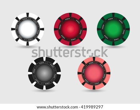 Set of casino, poker chips. Vector template, isolated