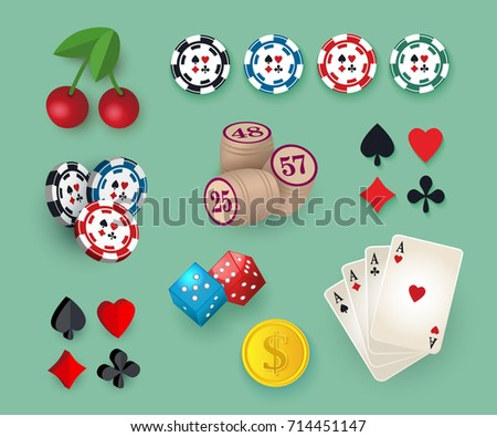 Set of casino symbols - playing cards, chips, tokens, bingo kegs, dices, jackpot and golden coin, vector illustration isolated on white background. Big set, collection of casino, gambling symbols