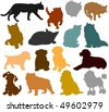 Set of cat and dog silhouettes - stock photo