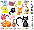 set of cats - stock vector
