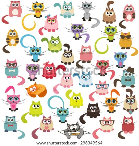 set of cats and kittens - stock vector