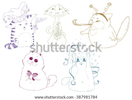 Set of cats, cat's party. Hand drawn vector illustration, doodle collection. April Fools' Day design: ridiculous glasses, masks, hats, confetti... - stock vector