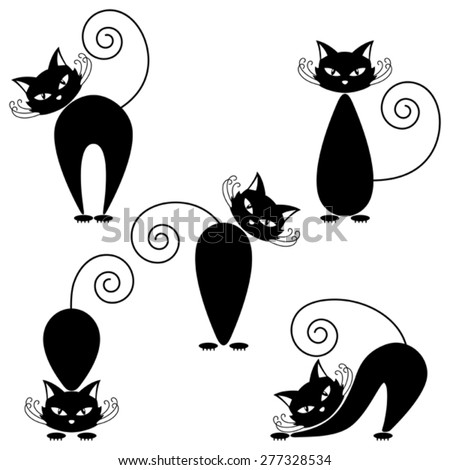 Set of cats on a white background. - stock vector