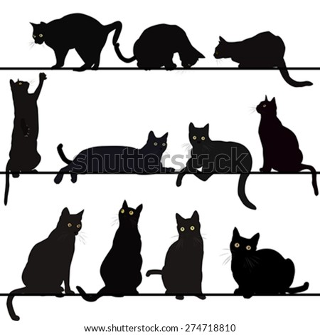 Set of cats silhouettes - stock vector