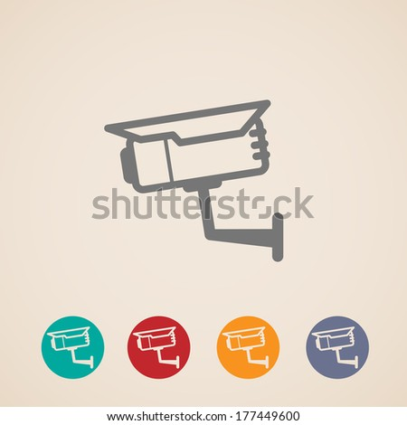 set of CCTV icons - stock vector