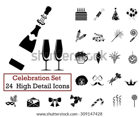 Set of 24 Celebration Icons in Black Color. - stock vector
