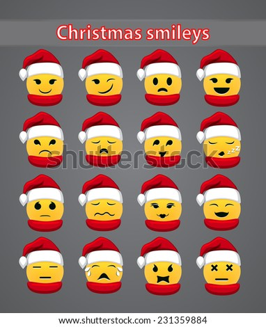 Set of celebratory Christmas smileys for your forum. vector illustration - stock vector