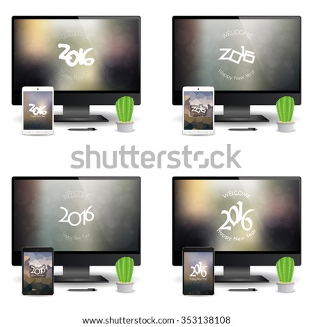 Set of cellphones and computer screens with new year screensavers