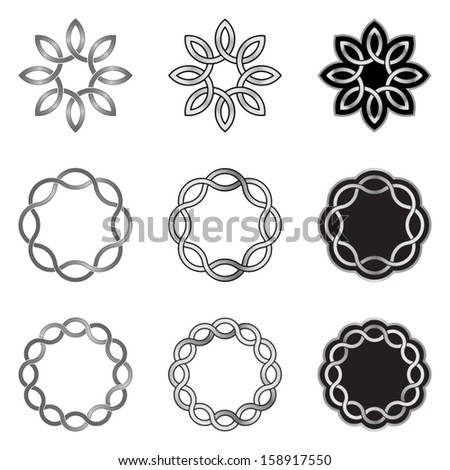 Set of Celtic Knot Elements, Models and Templates - stock vector