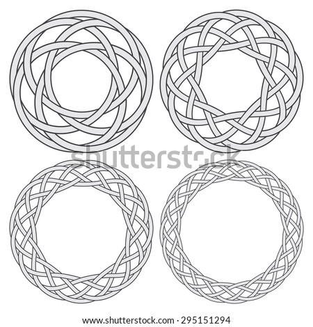 Set of celtic knotting rings. 4 circular decorative elements with stripes braiding for your design. - stock vector