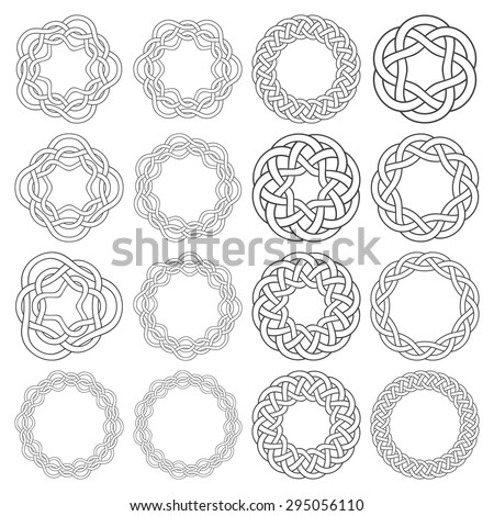 Set of celtic knotting rings. Sixteen circular decorative elements with stripes braiding for your design. - stock vector