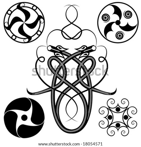 set of celtic patterns: dragons and circles