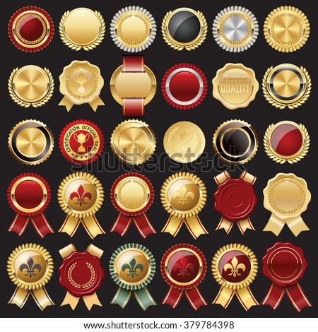 Set of Certificate Wax Seal, Badges and Stamps - stock vector