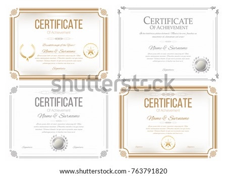Set certificates appreciation award certificate diploma stock vector set of certificates of appreciation award certificate diploma template in retro style golden yelopaper Image collections