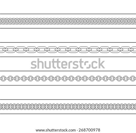 Set of chains web page dividers. Vector contour lines clip art - stock vector