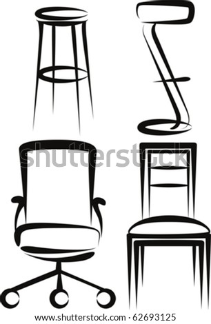 set of chairs - stock vector