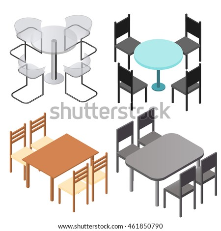 Set chairs tables flat isometric wood stock vector for Table flat design