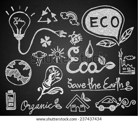Set of chalk hand drawing ecology on blackboard - stock vector