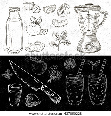 Set of chalk hand drawn, in sketch style, food and spices, black and white chalkboard background. Blender, glasses, bottle, fruit, mint, knife, smoothies, cocktails. Hand drawn vector illustration. - stock vector