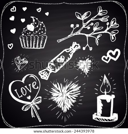 Set of chalk painted elements: hearts, candle, candies and plant. - stock vector