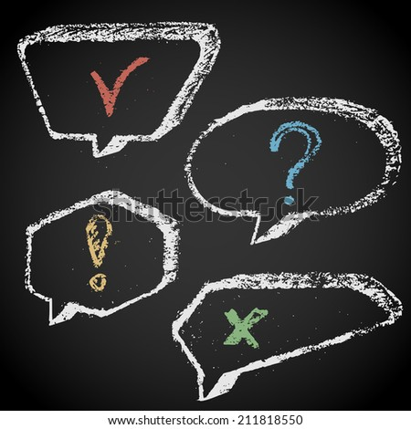 Set of chalk painted speech bubbles with punctuation marks - stock vector
