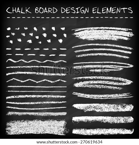 Set of chalk strokes, curved lines, banners and separators.  Handmade design elements on chalkboard background. Grunge vector illustration. - stock vector