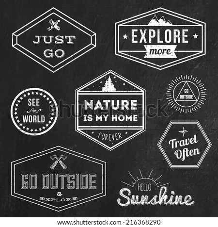 Set of chalk vintage adventure badges and outdoors logo emblems  - stock vector