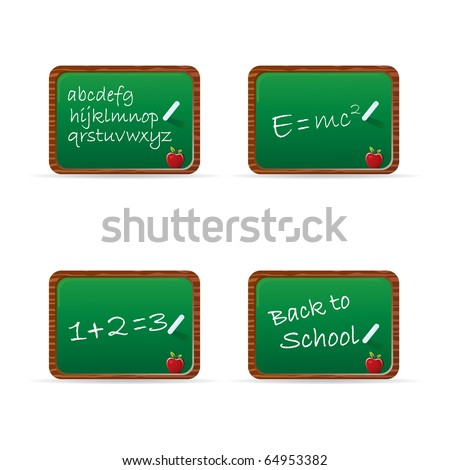 Set of chalkboards with common phrases - stock vector
