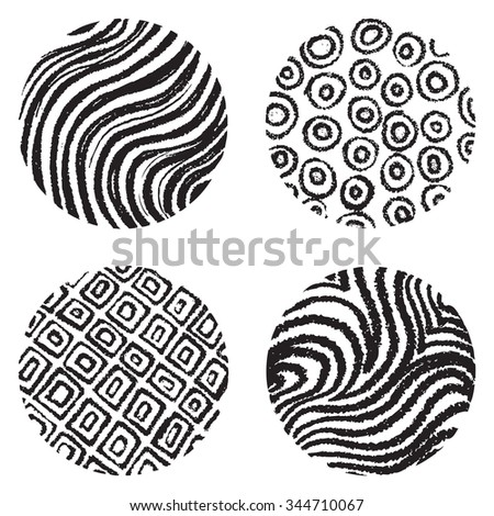 Set of chalked circles. Waves pattern in circle shape.