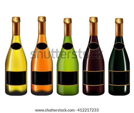 Set of Champagne bottle isolated on white background,Vector illustration