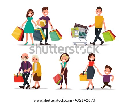 set characters people shopping vector illustration stock vector rh shutterstock com shopping victoria texas shopping victoria british columbia