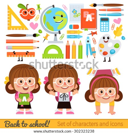 Set of characters and school icons in cartoon style. Girl student with a backpack and books. Icons on the school theme - globe, pencils, books, rulers, brushes and other items. - stock vector
