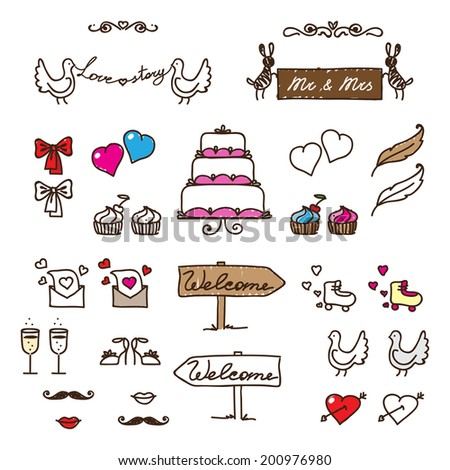 set of characters for wedding cards - stock vector