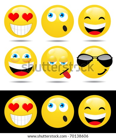 Set of characters of yellow emoticons - stock vector