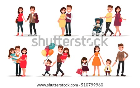 Set of characters showing the stages of development of the family. Creation, birth of children,  care and upbringing. Mother, father, daughter and son. Vector illustration in a flat style