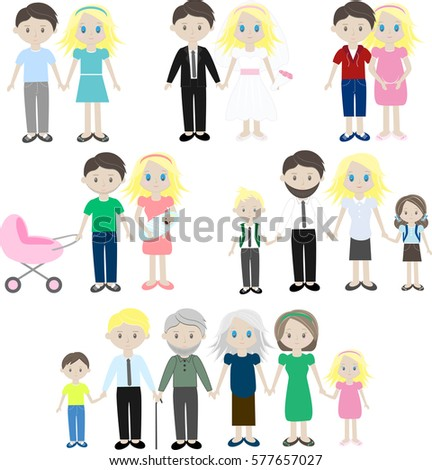 set of characters showing the stages of development of the family creation birth of - Cartoon Picture Of Children