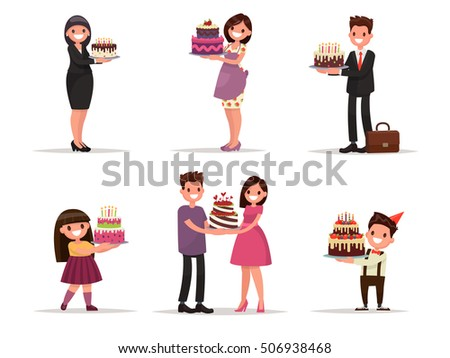 Set of characters with a cake. Office worker, businessman, housewife, children celebrate. Vector illustration in a flat style