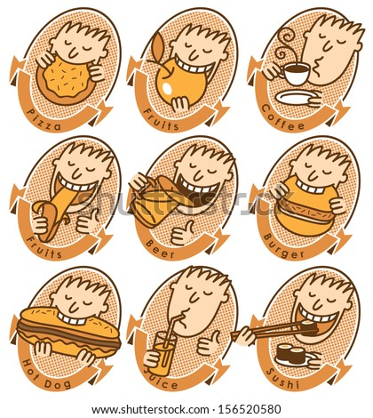 set of characters with different dishes for the menu - stock vector