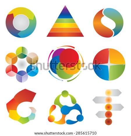 Set of Chart Diagram Icons - Wheel - Pyramid - Circle - Arrows Elements - stock vector