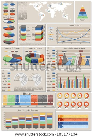 Set of charts, color infographic elements, EPS 10,contains transparency - stock vector