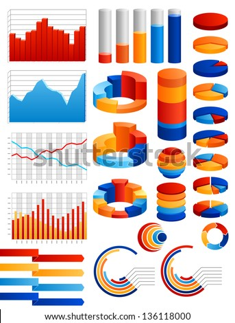 Set of charts, EPS 10 contains transparency. - stock vector