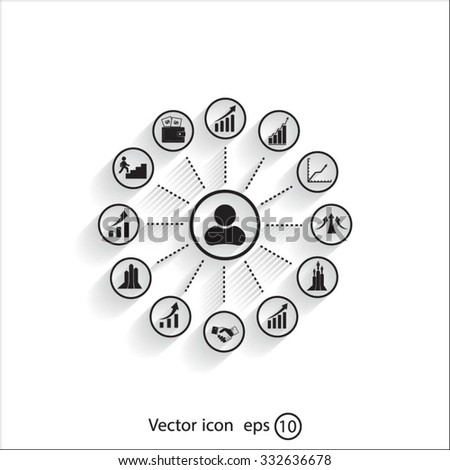 set of charts, vector icon - stock vector