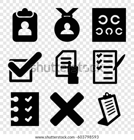Set of 9 check filled icons such as medal, pointing on document, clipboard, check list, eye test, checklist, tick