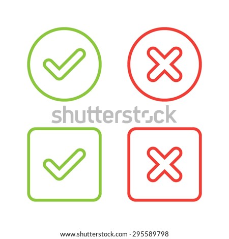 Set of Check Mark Icons - stock vector
