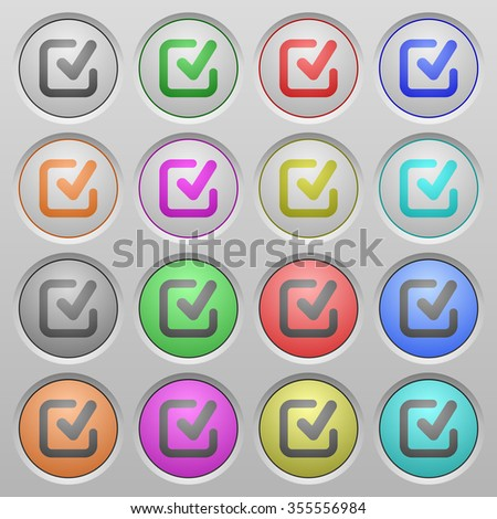 Set of Check mark plastic sunk spherical buttons. - stock vector
