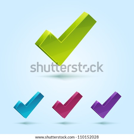 Set of check mark symbol isolated on blue background. This vector icon is fully editable. - stock vector