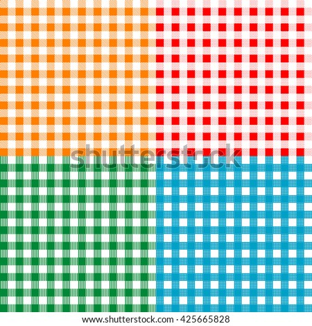 Set of checkered seamless patterns. Plaids, tablecloths. Textile collection.  - stock vector