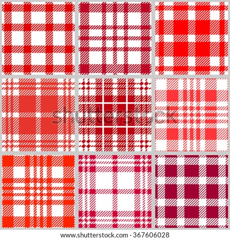 Set of checkered seamless patterns. Plaids, tartans, shirt fabric, tablecloths. Retro textile collection. Red shadows palette. - stock vector